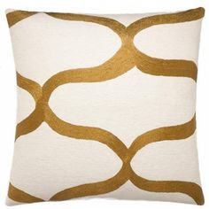 Cream/Gold Rayon Waves Pillow