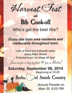 Berlin, Ohio is the heart of Ohio's largest Amish settlement. Rib Cook Off, Berlin Ohio, Amish Country Ohio, Holmes County, In The Heart, No Cook Meals, Events, Cooking, Food