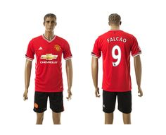 2015-2016 Man Utd 9 FALCAO Home Red Soccer Jersey