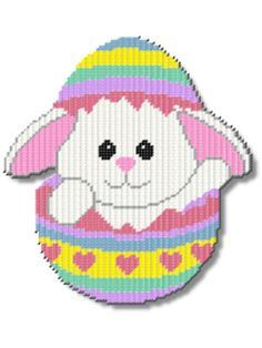 Plastic Canvas - Bunny in an Egg Waving - #REP0200