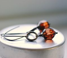 Etsy - Rustic Earrings Topaz Glass and Oxidized by WildWomanJewelry