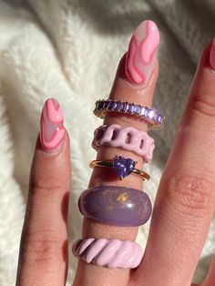 Funky Jewelry, Nail Jewelry, Cute Jewelry, Jewelry Accessories, Cute Acrylic Nails, Cute Nails, Pretty Nails, Mode Inspiration, Nails Inspiration