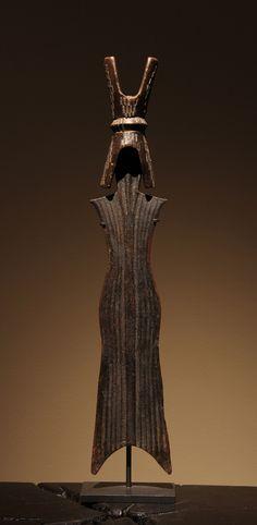 "Africa | Prestige Knife | Tikar People, Cameroon | Circa 1900 | Iron/wood with inlaid aluminum | 19"""