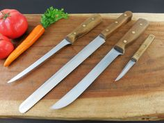 Chicago Cutlery walnut handle stainless kitchen knives...