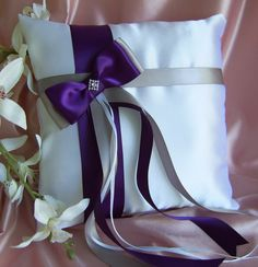 Wedding Ring Pillow Grey and Purple Wedding Accessories, Lapis, Deep Purple and Gray Wedding Colors. $35.00, via Etsy.