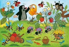 Ravensburger The Mole In The Garden Jigsaw Puzzle 2 X 24 - Educational Toys Planet Puzzle Ravensburger, The Mole, Kitsch, Puzzles For Kids, Childhood Toys, Illustrations And Posters, Children's Book Illustration, Drawing For Kids, Vintage Children