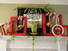 Thrifted frames painted in red and white. Large ornaments tied on with ribbon. Cute mantle display.