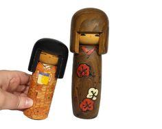 Pair of Vintage Handmade Japanese Kokeshi Dolls by ChapsAndRascal