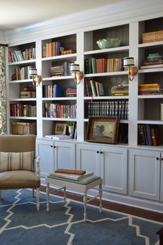 Our front room will be a library/piano/sitting room. This looks very close to what I am imagining.