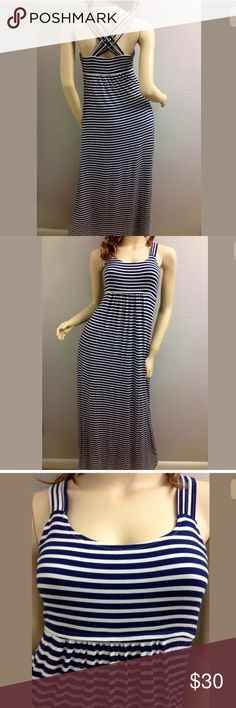 """exc CALVIN KLEIN blue white maxi Nautical dress Pre-owned.  EXC condition Strap opening: 7 """" Chest:  ~ 30 """"  (unstretched) Elastic Empire Bust:  28-36 """" Waist:  ~ 34"""" Hips:  ~ 42"""" Hem:  33""""  flat no sleeves Length:  52 """" Opening:  pullover 95% rayon, 5% spandex ;  STRETCHY Size 2 ; 4 XSmall may fit. Colors:  navy blue, white sleeveless, long maxi dress horizontal, Nautical stripes design straight, long, slim CRISSCROSS spaghetti straps on back ❌NO trades ❌Price firm❌   pls BUNDLE for…"""
