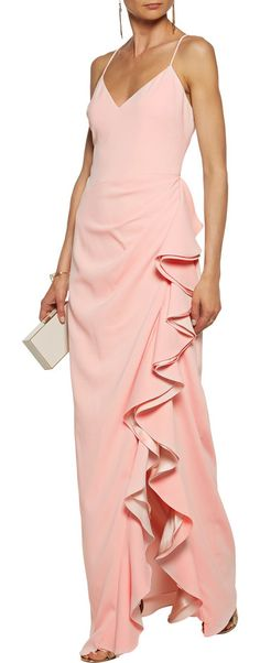 On SALE at 50% OFF! Silk Satin-trimmed Ruffled Crepe Gown by Badgley Mischka. Badgley Mischka blush gown . Crepe . Side split, ruffled silk-satin trims, fully lined . Concealed hook and zip faste...