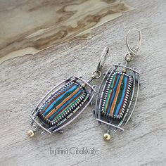 Rayas II - Sterling Silver Earrings with Rainbow calsilica
