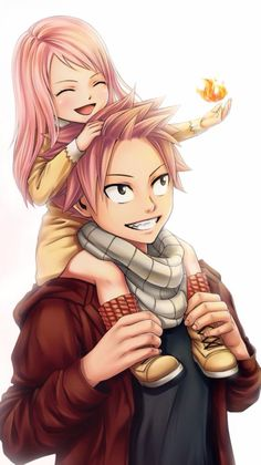 This is so cute. Natsu with his and Lucy's little girl Fairy Tail. Natsu would make such a perfect father. Natsu Fairy Tail, Fairy Tail Lucy, Fairy Tail Ships, Fairy Tail Fotos, Fairy Tail Amour, Anime Fairy Tail, Fairy Tail Guild, Couples Fairy Tail, Fairy Tail Family