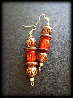 Animal Pattern Sunburst Boho Dangle Earrings  by KheperaAdornments, $12.00