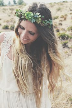 diy succulent crown via needles + leaves. oh my god if I ever have enough of them to make this I so will