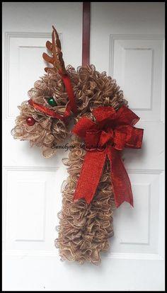 Reindeer Christmas Wreath, Holiday Deco Mesh Door Wreath (Handmade) - Candy Cane Wreath - Ready to Ship Candy Cane Crafts, Candy Cane Wreath, Candy Canes, Deco Mesh Wreaths, Ribbon Wreaths, Yarn Wreaths, Floral Wreaths, Burlap Ribbon, Holiday Wreaths