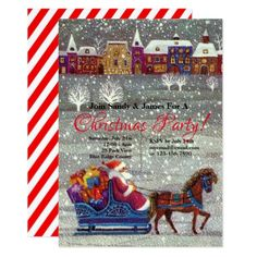 Christmas Party Snowy Santa Vintage Party Invites - birthday invitations diy customize personalize card party gift