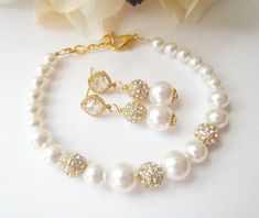 Pearl Bridal Jewelry Set, Bridal Jewelry Set,2 Piece Set, Gold Bridal Jewelry,Pearl and Rhinestone, Gold Earrings, Pearl Bracelet, Swarovski by Uniquebeadables on Etsy