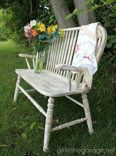 Weathered wood bench makeover with Old Ochre Chalk Paint® decorative paint by Annie Sloan | By Girl in the Garage