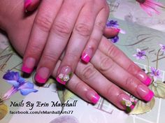 INM Neon Glitter Pink Acrylic Nail Art with 3D flowers. #SephoraNailSpotting