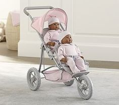 how cute is this. A baby doll, double jogging stroller!