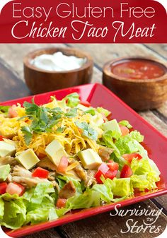 Chicken Taco Meat is gluten free, low carb and grain free! Tastes amazing on a big salad - add to lettuce along with tomatoes, salsa, cheese and sour cream!