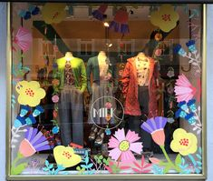 Spring window painting by Maria Over for MILK Munich Old Window Art, Painted Window Art, Window Mural, Window Paint, Spring Window Display, Window Display Retail, Boutique Window Displays, Spring Painting, Store Windows