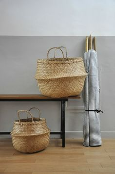 Love these rice baskets. The top half pushed down inside to make a big bowl shape.