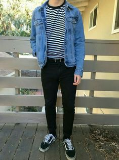 Blue jeans jacket, striped tee, black jeans with belt and old school vans. - Blue jeans jacket, striped tee, black jeans with belt and old school vans. – – Source by mygxky - Mode Outfits, Retro Outfits, Vintage Outfits, Casual Outfits, Men's Outfits, Korean Fashion Men, 90s Fashion, Fashion Outfits, Skater Fashion