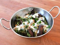 Roasted Portobellos & Asparagus with Goat Cheese Sauce - Simple vegetarian entree or side dish recipe with roasted asparagus, portobello mushrooms, creamy goat cheese sauce and pine nuts. Kosher, Dairy. via @toriavey