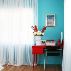 Teenage Girl Bedroom Design, turquize and red with white curtains Luxe, studio