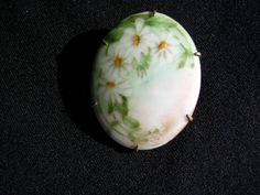Antique / Victorian Limoges Hand Painted Flowers on Porcelain Brooch / Pin  | eBay