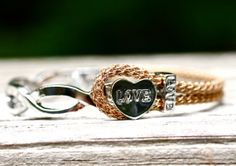 Love Bracelet Half Silver Bracelet Knitted Wire Leather by amyfine, $48.00