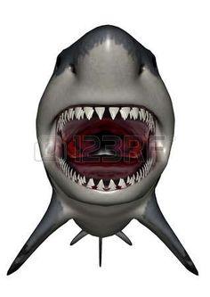динозавр: динозавр Мегалодон рот - 3D визуализация