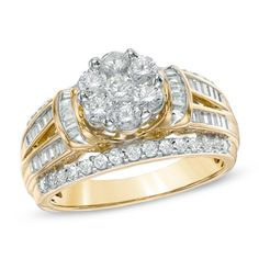 1-1/4 CT. T.W. Diamond Cluster Engagement Ring in 10K Gold