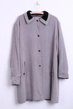 Grand Style Womens XL Coat Grey Jacket Trench Mac Long - RetrospectClothes