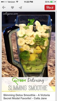 Slimming Detox Smoothie - A Victoria Secret Model Favorite! ** Not the best tasting smoothie but gets the job done **. Really chunky, added extra water. I drink this at work throughout the entire day to keep my hunger at bay. Smoothie Detox, Juice Smoothie, Smoothie Drinks, Detox Drinks, Healthy Smoothies, Healthy Drinks, Healthy Snacks, Healthy Eating, Cleanse Detox