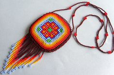 Mexican Huichol Beaded Necklace Pouch by Aramara on Etsy, $22.00