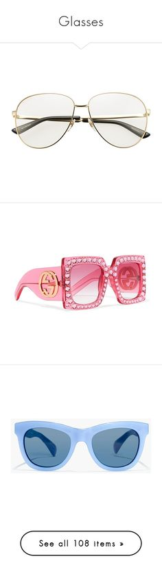"""""""Glasses"""" by roxysgotmoxy ❤ liked on Polyvore featuring accessories, eyewear, sunglasses, glasses, oversized heart sunglasses, gucci sunglasses, pink round sunglasses, heart shaped glasses, embellished sunglasses and oversized sunglasses"""