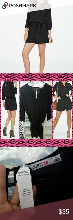 Black Romper Just Fab - Black Keyhole Romper  Never Worn Just Washed Channel that free spirit in you with a trendy romper that?s perfect for an outdoor festival. It features a cinched waist and a keyhole back. Pair with gladiator sandals and a classic fedora for a festival ready look. JustFab Pants Jumpsuits & Rompers