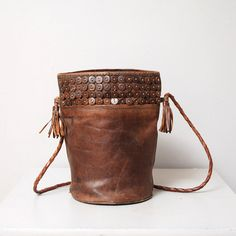 1980s Brown Leather Purse  Bucket Bag with by OldFaithfulVintage, $35.00