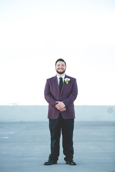 Raeden and George: Springtime wedding in Fort Collins, Colorado. Purple, navy blue, gray, white. Margaritas. Burrito bar. Piñata. Candy buffet. Funfetti cake. Treat yo self. Tattooed bride. Colorful wedding gown.