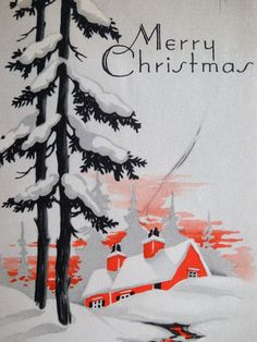 Original Art Deco Christmas card with red house and trees. http://www.ebay.com/itm/30s-Art-Deco-House-w-Curling-Chimney-Smoke-Vintage-Christmas-Card-522-/330835864236?pt=LH_DefaultDomain_0=item4d075aaaac=true=yV7XGeZyWBYAK%2BA55NFT2PHPEto%3D_cvip=true=nc&_trksid=p2047675.l2557