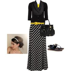 """""""casually cute in black, white, and yellow ;-)"""" by jvs8384 on Polyvore"""