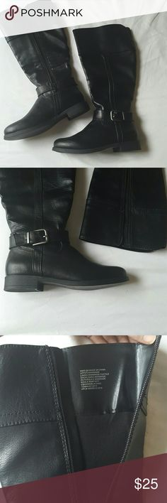Black Boots with Zipper???? Black boots that stop below the knee. Zipper on inside makes them very easy to get on. Wider opening at top - I havr an athletic built with muscle calves and these have plenty of room! Never worn! Cute buckle detail croft & barrow Shoes