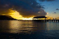 Kauai's Hanalei Pier -at sunset