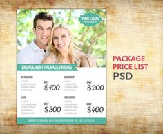 Engagement Photography Package Pricing - Photographer Price List - Marketing - Photoshop Template Photography Packages - INSTANT DOWNLOAD. $12.00, via Etsy.