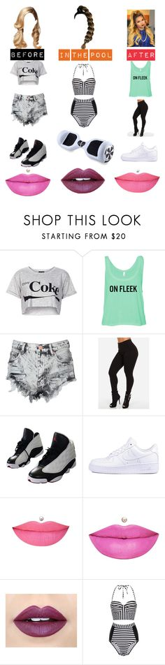 """""""Pool Party!"""" by cheybabie ❤ liked on Polyvore featuring Topshop, Glamorous, NIKE, Anastasia Beverly Hills, Fiebiger and Paper Dolls"""