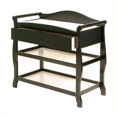 Stork Craft Aspen Sleigh Changing Table with Drawer ($150) ❤ liked on Polyvore featuring home, children's room, children's furniture, nursery furniture and black