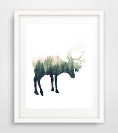 Deer print, deer printable, forest print, animal art print, deer wall art print, wall art decor print, deer nursery art, living room art by Ikonolexi on Etsy